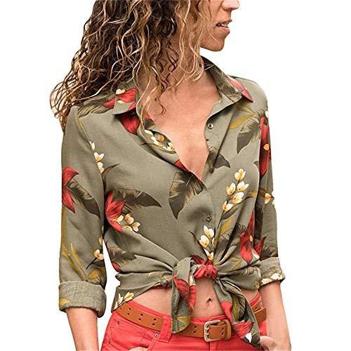 Herbstlich Damen LäSsig Bedrucktes V-Ausschnitt Langarm Chiffon Shirt Damenoberteil