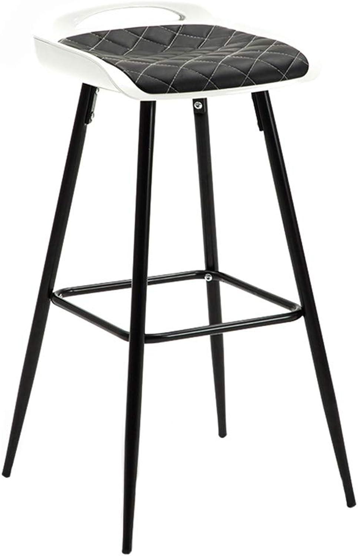 Modern Minimalist Bar Chair Metal Bar Stool Creative High Stool Suitable for Bar Kitchen Bar Cafe Restaurant Reception (Black, 75cm)