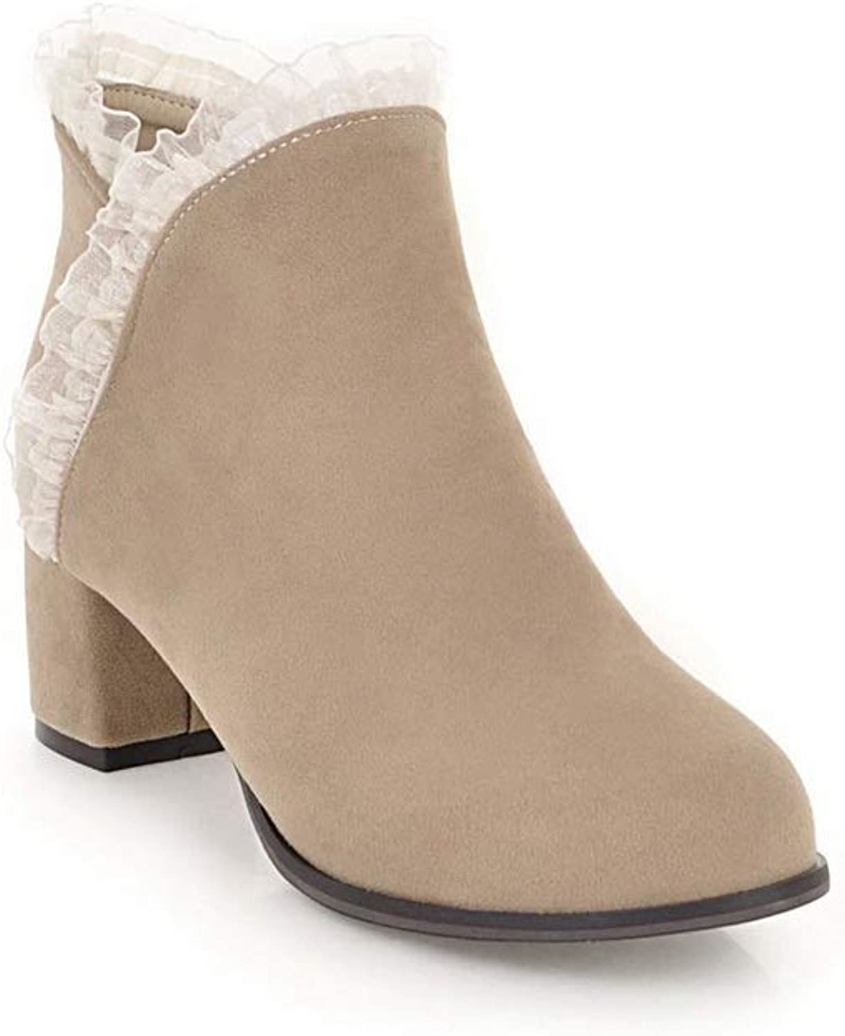 AN Womens Chunky Heels Lace Zipper Imitated Suede Boots DKU02035
