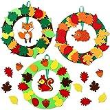 Herefun Kit Feltro Decorazioni, Feltro Artigianali, Ghirlande per Bambini con Ornamenti Staccabil, Decorazioni Natale per Pareti di Porte, Regalo per Festa Compleanno (3pcs-B)
