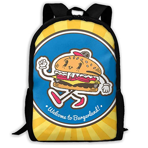 HOJJP ñ mochila escolar von ruedas Travel Backpack Laptop Backpack Large Diaper Bag - Hamburger Fast Food Backpack School Backpack for Women & Men