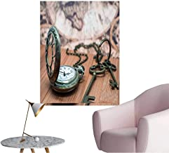 Wall Decorative Antique Grunge Pocket Watch Clock,Skeleton Keys On Wooden Table Pictures Wall Art Painting,24