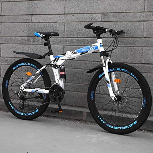TXTC Shock Geschwindigkeit Fahrrad Mountainbike Doppelbremse Klappfahrrad 24/26 Zoll Rad Doppelscheibenbremsen Männer Mountain Bike (21/24/27/30 Variable Speed) (Color : C-24in, Size : 21 Speed)