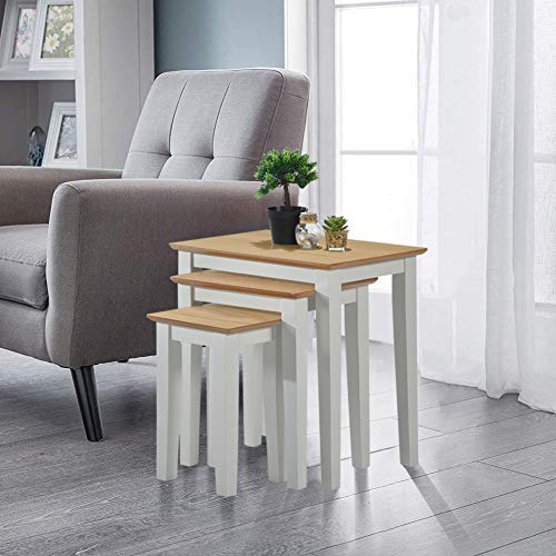 GOLDFAN Nest of Tables Set of 3 Nesting Coffee Tables Solid Wood Side End Lamp Tables Bedside Tables for Living Room (Grey)
