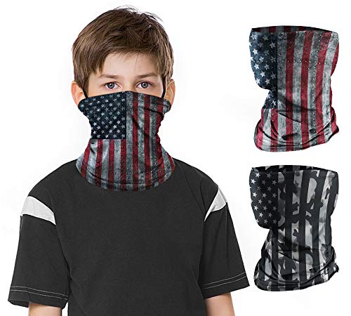 2 PCS Kids Face Mask Neck Gaiters Full-Coverage Bandanas Headband Tube Neck for Boys Girls(A American Flag, 11-14T/9.0514.17inch)