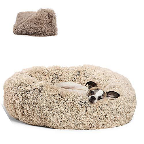 Cama Redonda para Mascotas, Cama Relajante Nido de Felpa Cojín Suave y cálido Donut Cuddler Cat Dog Puppy Cómodo para Dormir en Invierno 60cm