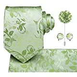 GPZFLGYN Corbata de seda para hombre, corbata verde hierba, corbata floral, ojal, pañuelo, gemelos, conjunto de corbatas de boda para novio de 8,5 cm