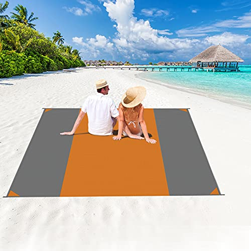 beach mat for adults HiCool Beach Blanket, Extra Large 118''×110'' Beach Mat for 5-9 Adults, Double Anchored with 4 Corner Sand Pockets, 6 Stakes, for Vacation, Travel, Camping, Hiking, Picnic (Orange+Grey)