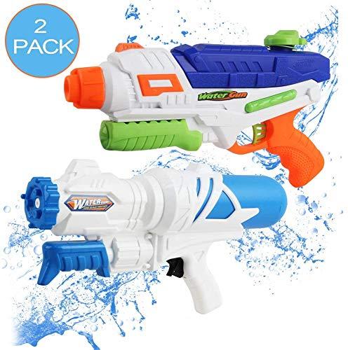 deAO 2er-Pack Wasseraufnahmebare Wasserpistole Pistolenschützen Spielset- ideal für Unterhaltung im Freien im Sommergarten des Schwimmbades