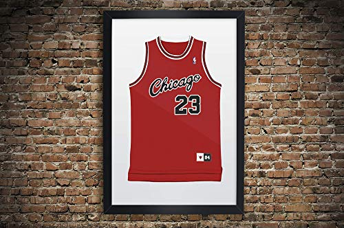 Vintage Chicago Bulls Jersey, Jordan, Pippen, Rodman Tribute Illustration Premium Print Wall Art in Various Sizes