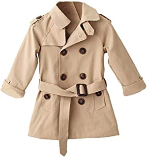 Mallimoda Girls Boys British Cotton Blend Trench Coat Jacket Double Breasted