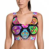 NiYoung Women's Sports Bra Removable Padded Yoga Tank Tops Fashion Sleeveless Vest for Running Gym Workout Fitness (Dead Sugar Skull Flowers, XL)