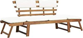 vidaXL Outdoor Sun Bed/Garden Bench Solid Acacia Wood Bench Seating Furniture
