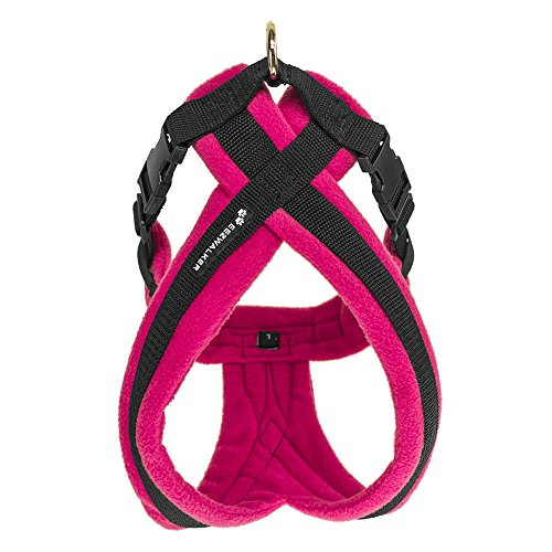 EEZWALKER Dog Harness, Medium Adjustable No-Pull Gentle Walker for Comfortable Pet Control - Pink Fleece