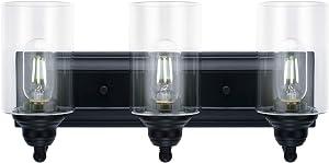3-Light Vanity Light Fixture Modern Clear Glass Shades Lighting Black Dining Room Lighting Fixtures (3-Light)