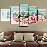 Tableau Multi Panneau 5 Parties Non-tissée Art Artwork Love Fleurs Rose Bedside Home Decoration...
