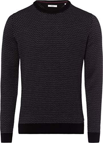 BRAX Herren Style Rick Rundhals Casual Sportiv Pullover, Black, Large (Herstellergröße: 52)