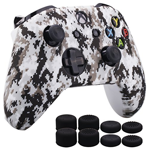MXRC Silicone Rubber Cover Skin Case Anti-Slip Water Transfer Customize Digital Camouflage for Xbox One/S/X Controller x 1 White+ FPS PRO Extra Height Thumb Grips x 8