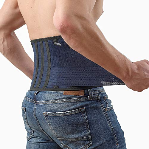 Back Support Lower Back Brace provides Back Pain Relief - Breathable Lumbar Support Belt for Men and Women keeps your Spine Straight and Safe - Medium size 32