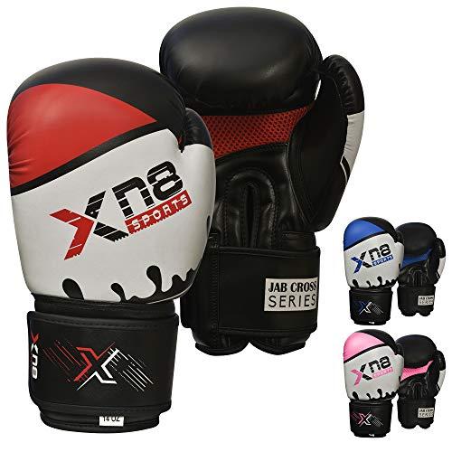 Xn8 Sports - Guantoni da Boxe in Pelle Rex, per MMA, Muay Thai, Combattimento, Kickboxing, Arti Marziali, 10 oz, Colore: Oro