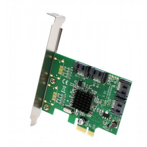SQLogic 4 Port SATA III PCI-e 2.0 x1 Controller Card Marvell Non-Raid Low Profile Bracket
