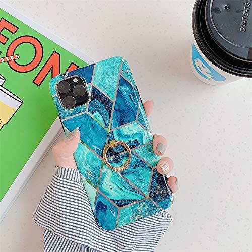 Bakicey iPhone 12 Pro Max Hülle, iPhone 12 Pro Max Marmor Handyhülle mit 360 Grad Ring Ständer Ultra Dünn Soft Silikon TPU Bumper Stoßfest Case Anti-kratzt Schutzhülle für iPhone 12 Pro Max, 16