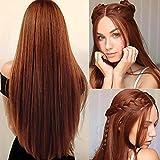 Perücke Orange Lang Glatt Synthetische Haar Perücke Damen Cosplay Volle Perücken für Frauen...