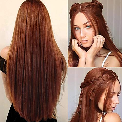 Perücke Orange Lang Glatt Synthetische Haar Perücke Damen Cosplay Volle Perücken für Frauen Halloween Karneval Party Gerade Wig(Orange)