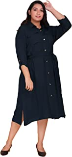 Lastinch Women's Blue Midi Shirt Dress