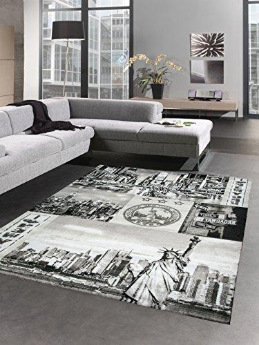 CARPETIA Designer Teppich New York Motiv grau schwarz Größe 160x230 cm