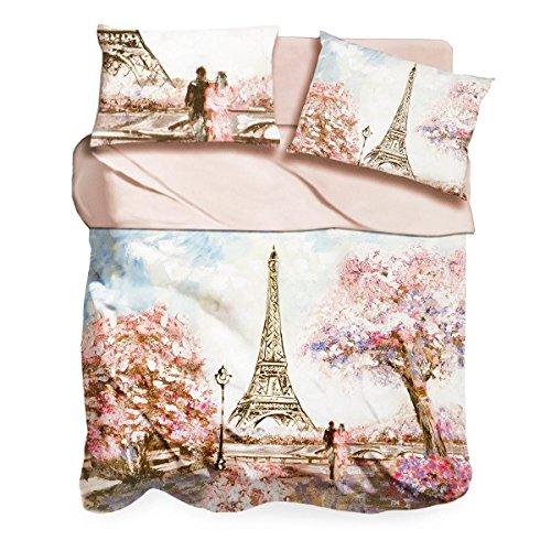 I Love Sleeping Completo Lenzuola Pink Paris Digitale 3D Matrimoniale Q440
