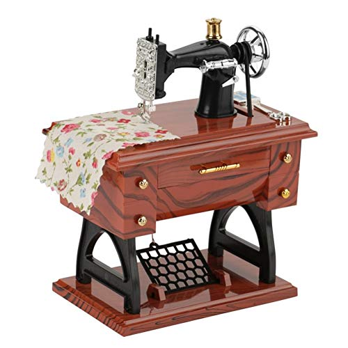Kozart Music Boxes Wood Mixed Plastic Sewing Machine Hand Crank Musical Box Vintage Engraved Antique for Birthday/Valentine's Day Plays Fur Elise to Kids Women Men