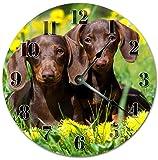 Reloj de pared redondo de 30,5 cm, funciona con pilas, con números arábigos, reloj salchichas para cachorros, perro salchicha salchicha, cachorro Doxen, decoración del hogar