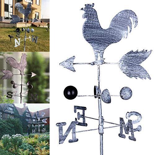 feeilty Traditional Rooster Weathervanes Eisenhahn Windfahne Windgeschwindigkeits-Richtungsanzeiger Garden Yard