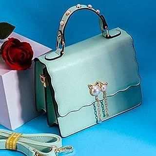 WTYD Single Shoulder Bag Pearl PU Leather Single Shoulder Bag Ladies Crossbody Handbag (Black) (Color : Green)