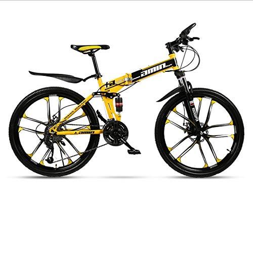 DGAGD Bicicleta de montaña Plegable de 24 Pulgadas para Adultos, una Rueda, Doble Amortiguador, Todoterreno, Bicicleta de Velocidad Variable, Diez Ruedas de Corte-Negro y Amarillo_27 velocidades