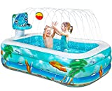 Giant Kids Inflatable Swimming Pool - 118'' Sprinkler Blow Up Kiddie Pool with Water Splash and Solar System and Launching Rocket Design for Family|Adults|Toddler|Baby Backyard Outdoor Pool