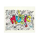 Music Art Doodle Rock Sound Manta suave para sofá cama ligera para todas las estaciones de 152 x 152 cm