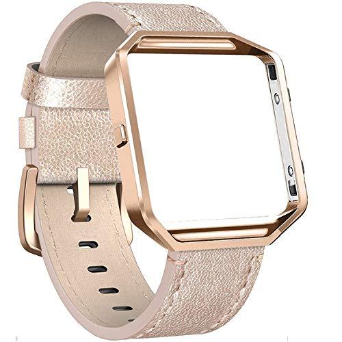 Cynmir Lederarmband Kompatibel mit Fitbit Blaze Smart Watch Echtes Leder Ersatzband mit Metallrahmen Klein & Groß für Damen Herren Champagner Gold Rose Gold Grau Beige Rose Pink