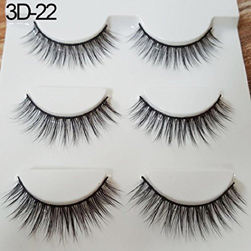3 paires 3D longs cils horizontaux longs Fash Cross Eye Lashes Extensions