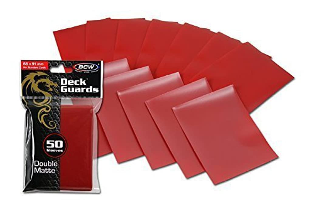 300 Premium Red Double Matte Deck Guard Sleeve Protectors for Gaming Cards like Magic The Gathering MTG, Pokemon, YU-GI-OH!, & More. by BCW