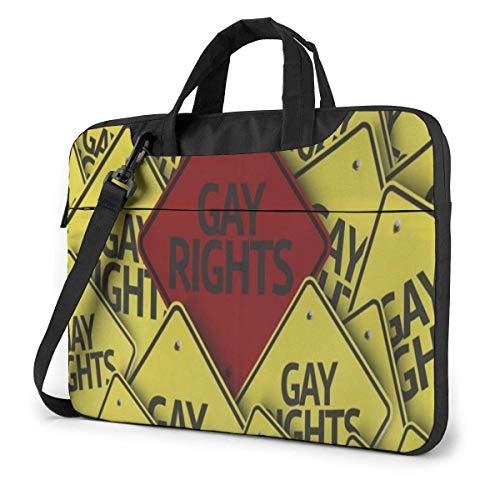 AOOEDM Homosexuell Regenbogen Farbmuster und Zitat Liebe ist Liebe Vintage Laptop Tragetasche Umhängetasche Aktentasche W/Strap Frauen Männer 14 \'