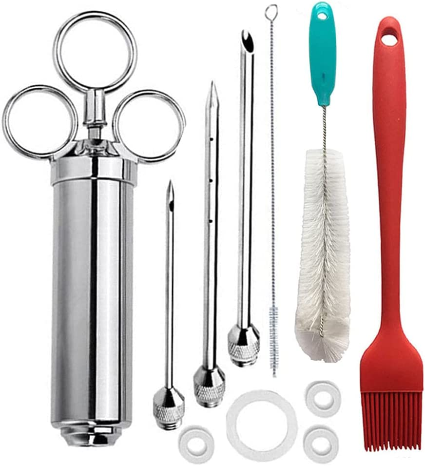 1SET Marinade Injector Over item handling ☆ Syringe Kit Large discharge sale Meat S Toasting Seasoning BBQ