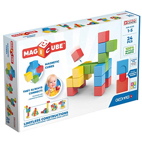Geomag Magnetic Toys, Toddler Magnets, STEM-endorsed Educational Building Cube Set Made from Recycled Plastic, 24 Pieces, Ages 1-5