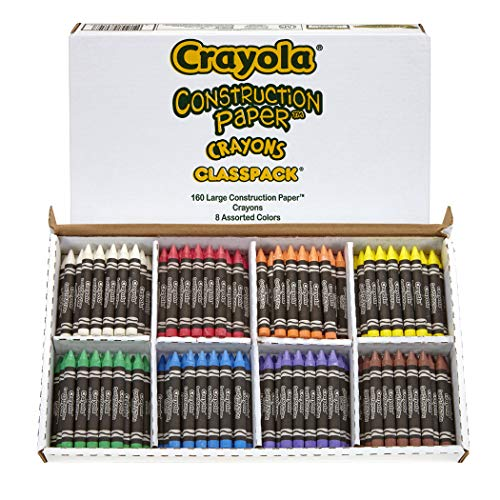 Crayola Construction Paper Crayon Classpack, 8 Colors, Pack of 160, Assorted, Large