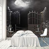 3D大型壁画 夜空の建物 巨大な壁画 ウォールステッカーHDプリントカスタマイズ可能なサイズ不織布デカールDIY 写真 TV背景壁紙家の装飾 200X140cm (78X55inch)