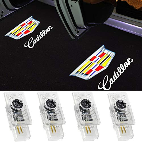 Car Door Lights for Cadillac Logo Lights Car Door Lighting Entry Ghost Shadow Projector Laser Emblem Welcome Lamp for SRX 2011-2017 XTS 2009-2016 ATS 2014-2017(4pcs)