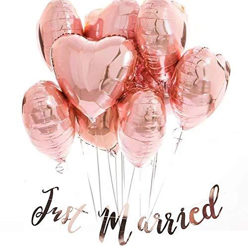 Anokay 12 Folienballon Hochzeit Rosegold Herz Ballons Luftballons Just Married Girlande Rose Gold für Geburtstag, Brautdusche, Baby-Dusche, Party Dekoration, Valentinstag, Muttertag ,Abschlussball