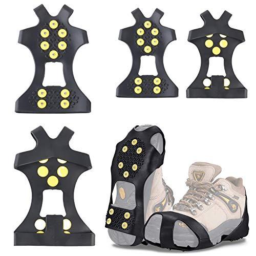 Spikes Crampons Ice Claws Antideslizante Zapato con Clavos Puños Zapato Clavos Snow Spikes Ice Spikes para Botas Zapatos con 10 Clavos Adecuado para Caminatas de Invierno,Senderismo,Montañismo