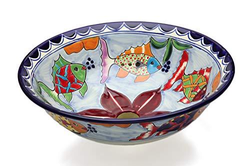 Delmar - Mexikanisches Waschbecken aus Keramik in Blau - Cerames | Waschschale 40,5 cm x 15 cm | Aufsatzwaschbecken aus Mexiko für Badezimmer, Gäste WC, Toiletten